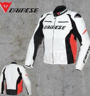 Giubbotto Danese Racing D1 Pelle Bianco/Nero/Rosso-Fluo