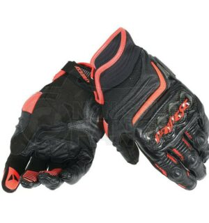 Guanti Carbon D1 Short Gloves Nero/Rosso-Fluo