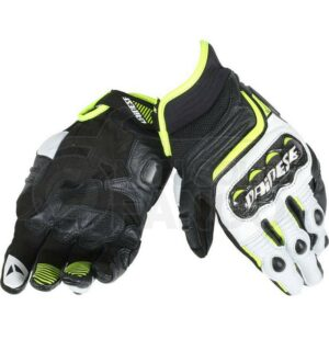 Guanti Carbon D1 Short Gloves Nero/Bianco/Giallo-Fluo