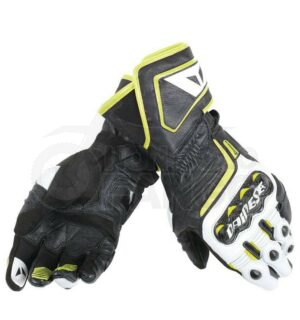 Guanti Carbon D1 Long Gloves Nero/Bianco/Giallo-Fluo