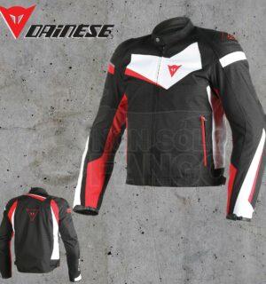 Giubbotto Dainese Veloster Tex Jacket Nero/Bianco/Rosso