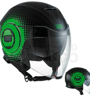 Casco moto Jet FLUID E2205 Multi Pix Black/Green