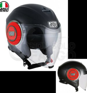 Casco moto Jet FLUID E2205 Mono Matt Black/Red