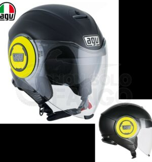 Casco moto Jet FLUID E2205 Mono Matt Black/Yellow