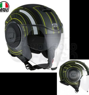 Casco moto Jet FLUID E2205 Multi CHICAGO Nero opaco / Giallo