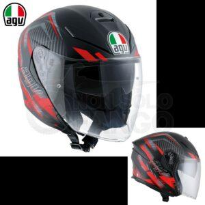 Casco moto K-5 JET E2205 MULTI URBAN HUNTER Matt Black/Red