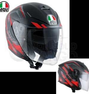 Casco moto K-5 JET E2205 MULTI URBAN HUNTER Matt Black/Red
