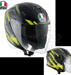 Casco moto K-5 JET E2205 MULTI URBAN HUNTER Matt Black/Yellow