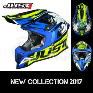 Casco Moto Off Road Just 1 – J12 Dominator Neon Yellow Blue