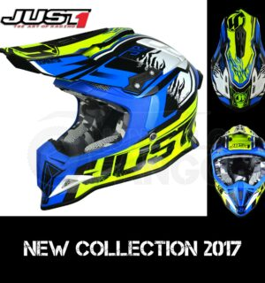 Casco Moto Off Road Just 1 – J12 Dominator Neon Yellow Blue