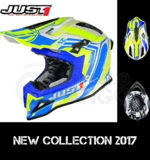 Casco Moto Off Road Just 1 – J12 Flame Yellow Blue
