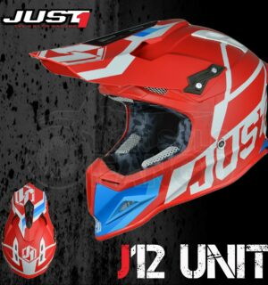 Casco Moto Off Road Just 1 – J12 Unit Red White