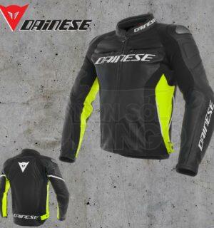 Giubbotto Pelle Dainese Racing 3 Jacket Nero/Nero/Giallo Fluo