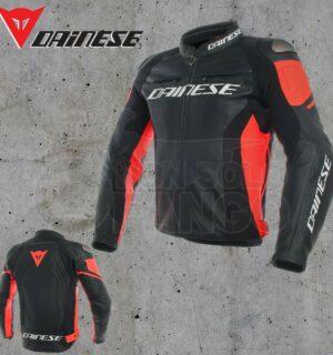 Giubbotto Pelle Dainese Racing 3 Jacket Nero/Nero/Rosso Fluo